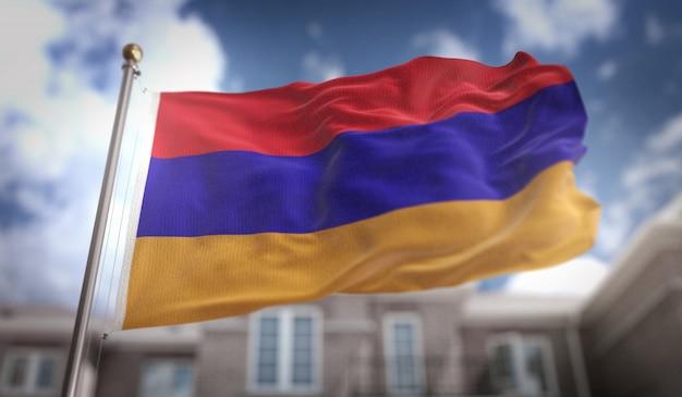 Armenia flag 3d rendering on blue sky building background