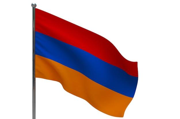 Флаг армении на шесте. металлический флагшток. национальный флаг армении 3d иллюстрация на белом
