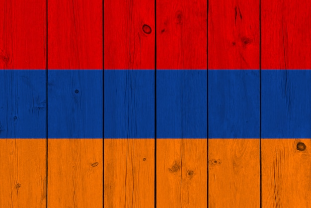 Armenia flag painted on old wood plank