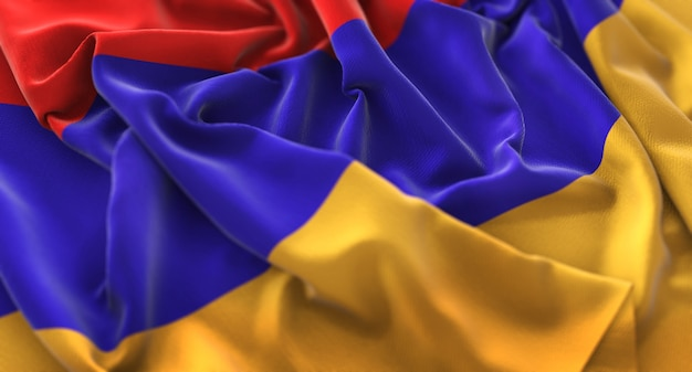 Armenia flag ruffled beautifully waving macro close-up shot