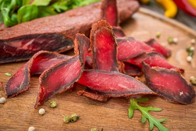 Armenian basturma. beef cured and spice