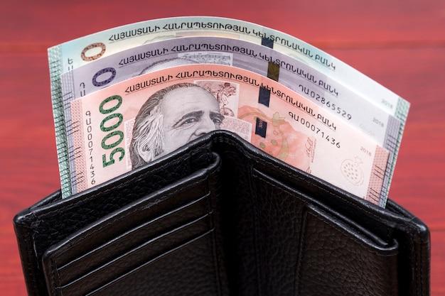 Armenian dram in the black wallet