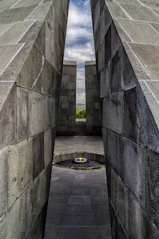 Armenian genocide memorial monumental complex with fire burning in the middle