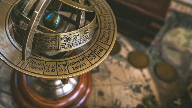 Armillary zodiac sign globe pedestal