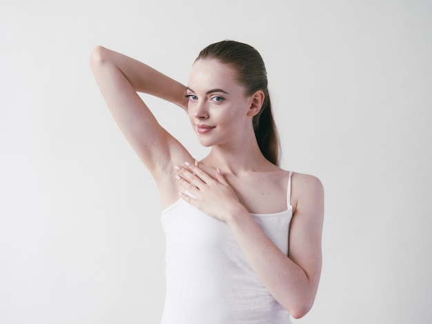Armpits woman beautiful body depilation arms up female beauty