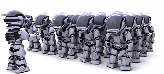 Army of robots with leader