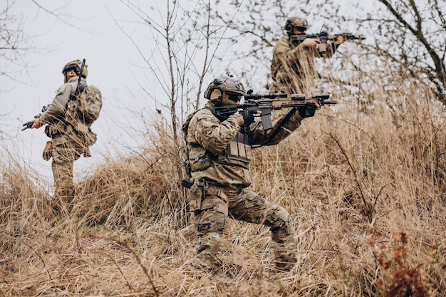 Army soldiers fighting with guns and defending their country