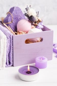 アロマバスボム、紫色の軽石、ラベンダー、spaアレンジメント、木製ボックス