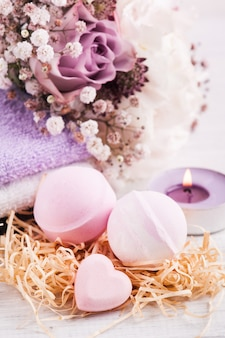 Aroma bath bombs with pink purple bouquet