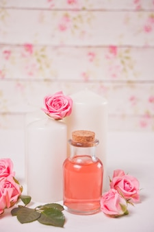 Aroma rose water for skincare, essential oils, spa beauty care