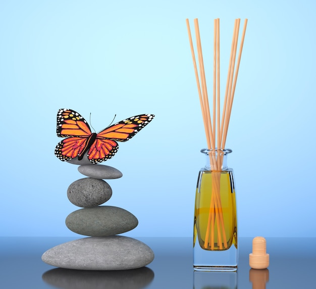 Aromatherapy air freshener and balanced stones with butterfly on a blue background. 3d rendering