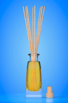 Aromatherapy air freshener on a blue background. 3d rendering
