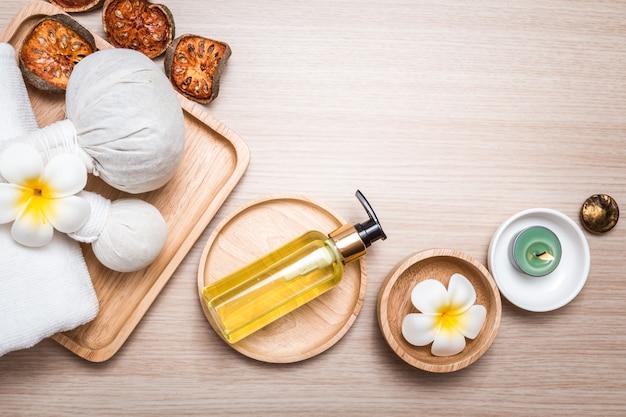 Aromatherapy suplies on wood