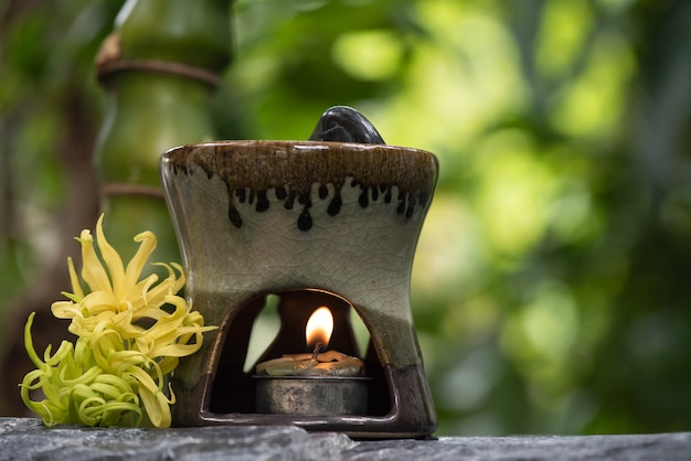 Aromatherapy with ylang-ylang flowers and essential oil burner on natural surface.