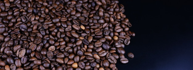 Aromatic banner with many grains of coffee