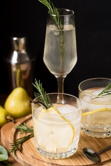 Aromatic cocktail with rosemary and ice