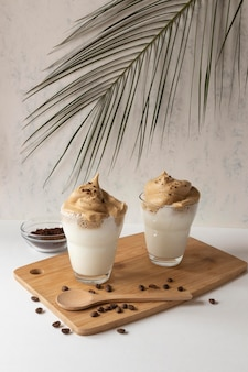 Aromatic frappuccino on table