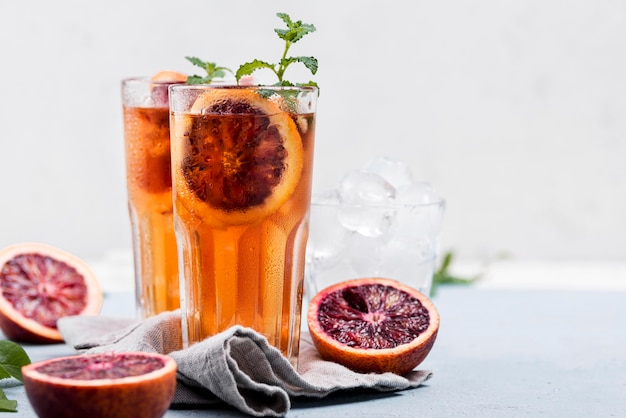 Aromatic fruit ice tea on table