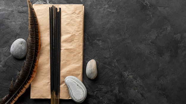 Aromatic incense sticks and water stones