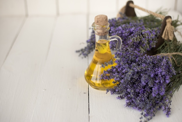 Aromatic lavender oil for spa therapy in a beauty salon.