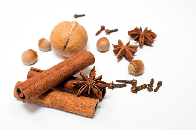 Aromatic spices collection, christmas decoration, falling igredients for mulled wine.