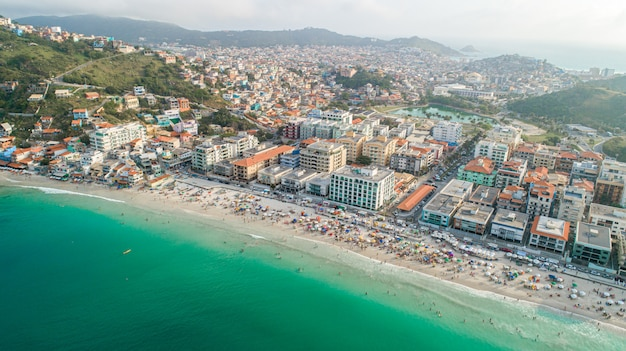 Arraial do cabo, rio de janeiro / brazil - circa october 2019: aerial image of part of arraial do cabo city, brazil.