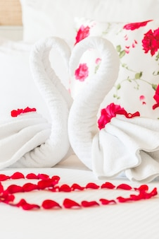 Arranged aesthetic towel pillow rose