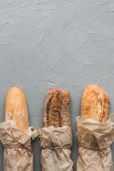 Arranged bread long loaves