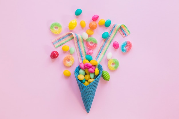 Arranged candies with waffle cone