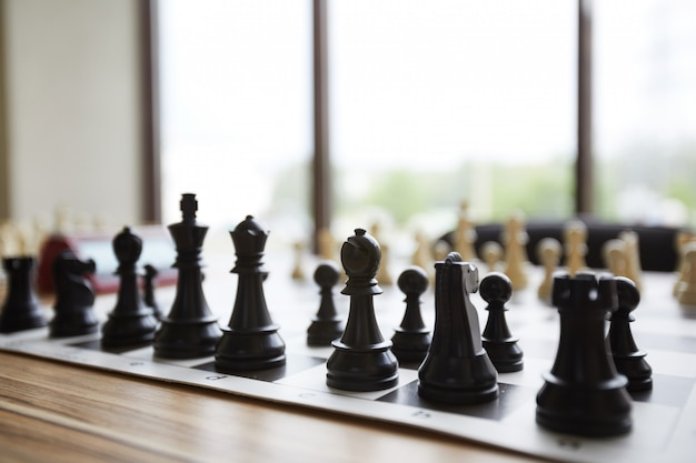 Arranged chess pieces
