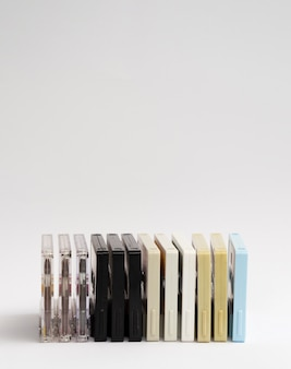 Arranged colored cassette tapes with copy-space