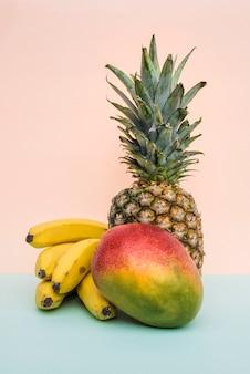 Arranged colorful tropical fruit