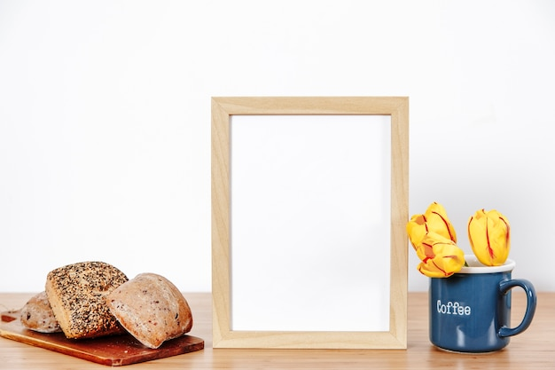 Arranged morning buns with frame and flowers