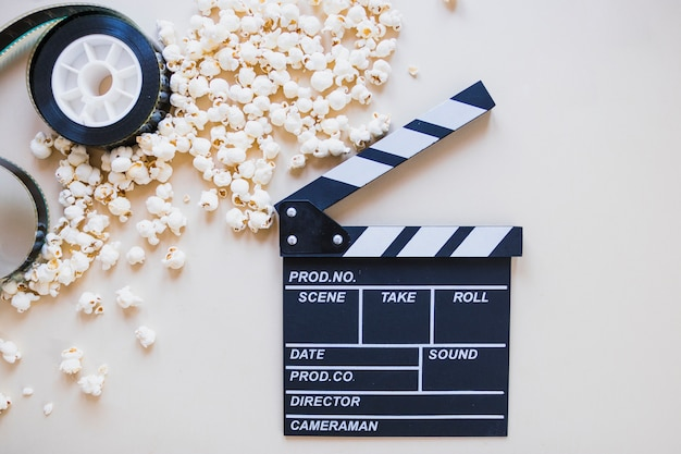 Arranged popcorn with clapperboard