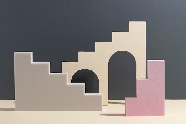 Disposizione di elementi di design 3d astratti