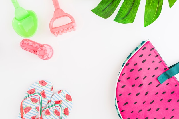 Arrangement of accessories for summer beach vacation