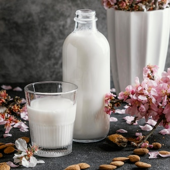 Arrangement of almond milk on the table