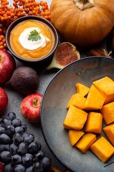 Arrangement of autumn food