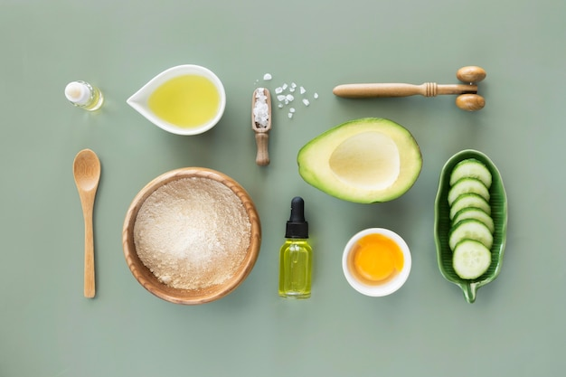 Arrangement of avocado and cucumber products