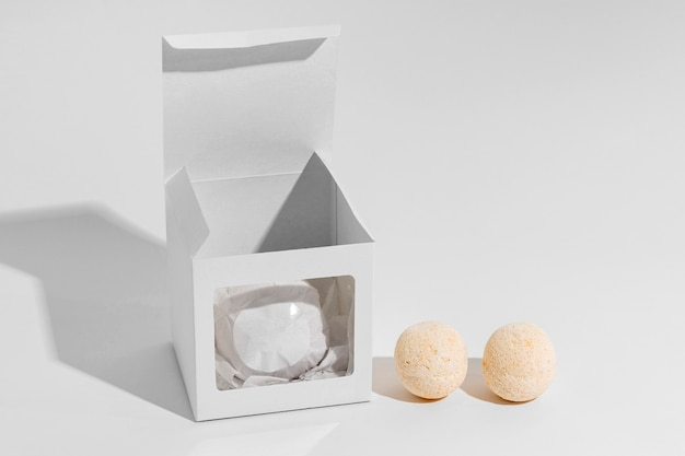 Arrangement of bath bombs on white background