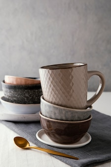 Arrangement of beautiful tableware with copy space
