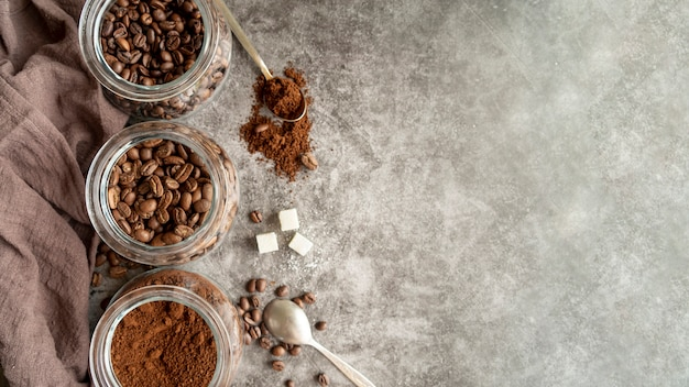 Arrangement of coffee with copy space Premium Photo