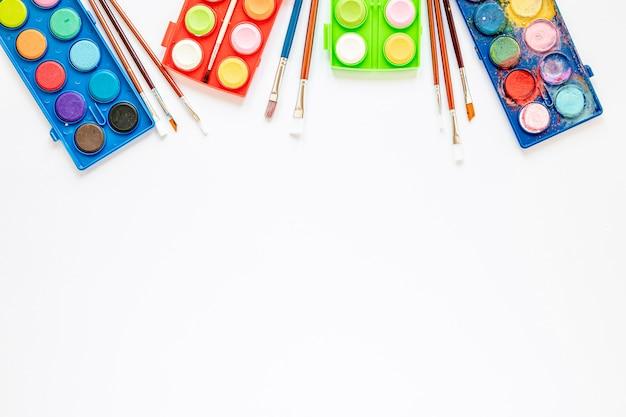 Arrangement of color palette in box copy space