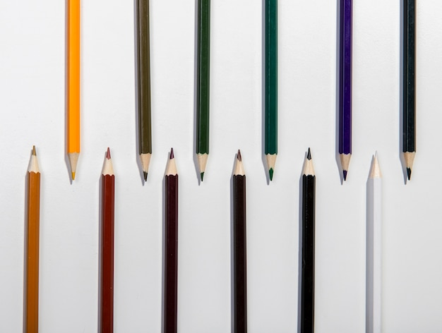 Arrangement of colourful pencils top view