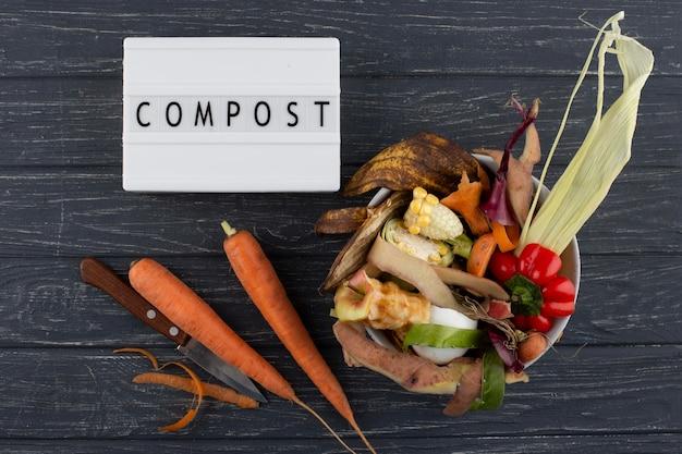 Arrangement of compost made of rotten food