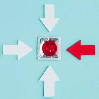 Arrangement of contraception concept on blue background