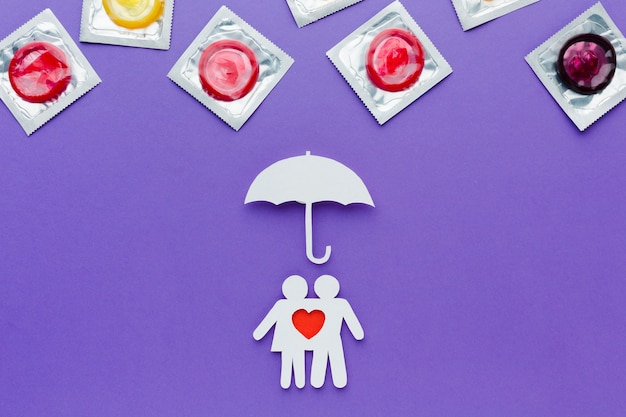 Arrangement of contraception concept on purple background