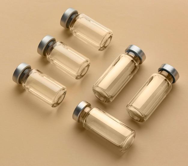 Arrangement of covid19 vaccine bottle