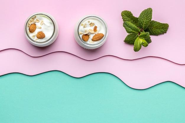 Arrangement of delicious breakfast meal with yogurt