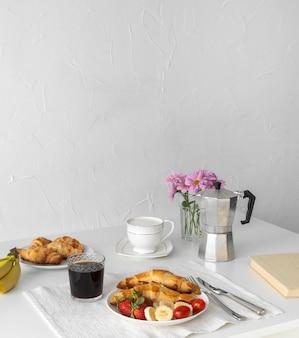 Arrangement of delicious breakfast meal